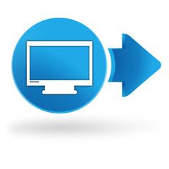 écran tv sur symbole web bleu