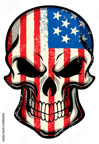 american flag painted on skull
