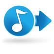 note de musique sur symbole web bleu