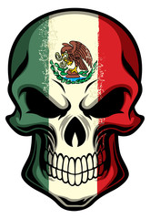 mexico flag painted on a skull