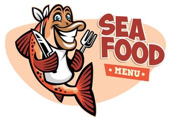 smiling fish seafood restaurant mascot