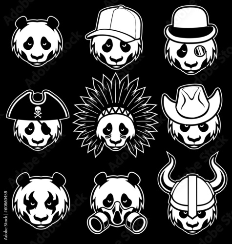 set of panda head