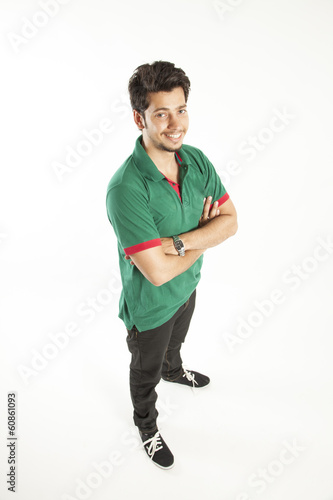Young man smiling in perspective from top angle