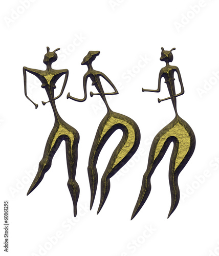 three women - primitive art