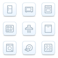Home appliances web icons, square buttons