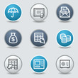Banking web icons, circle blue buttons