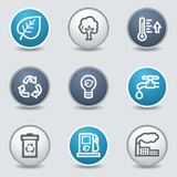 Ecology web icons, circle blue buttons
