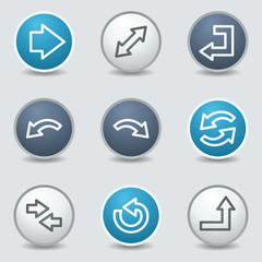 Arrows web icons, circle blue buttons