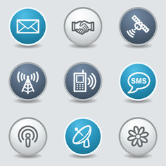 Communication web icons, circle blue buttons