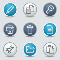 Document web icons, circle blue buttons