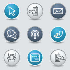Internet web icons, circle blue buttons