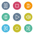 Media player web icons, color circle buttons