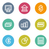Finance web icons set 1, color circle buttons