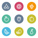 Fototapety Fruits web icons, color circle buttons