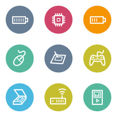Electronics web icons set 2, color circle buttons