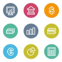 Finance web icons set 1, color circle buttons