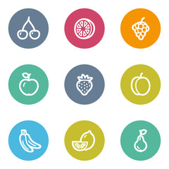 Fruits web icons, color circle buttons
