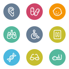 Medicine web icons set 2, color circle buttons
