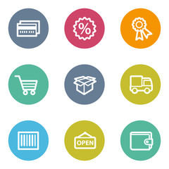 Shopping web icons set 2, color circle buttons