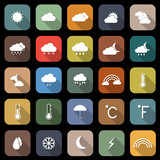 Weather flat icons with long shadow