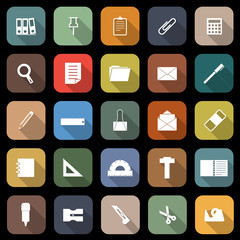Stationary flat icons with long shadow