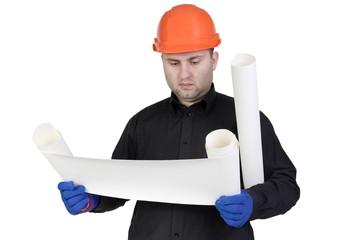 Builder in helmet isolated on white background