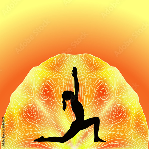 Girl in yoga pose on the abstract background
