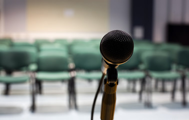empty seminar hall and microphone