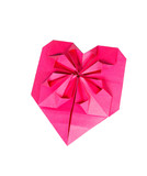 One heart shape from pink paper for Valentines day
