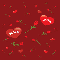 Background with hearts and roses