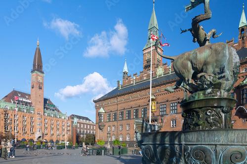 Staande foto Scandinavië Kopenhagen, Radhus, Radhuspladsen, Brunnen