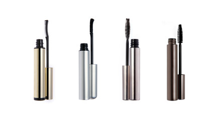 Set of mascara wand and tube isolated on white