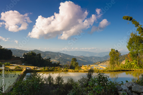 Evening landscape in the rice terraces