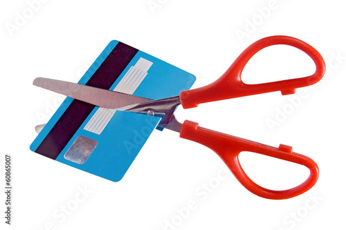 destruction of card payment isolated on white background