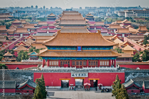 Poster Beijing Aerial view on Forbidden City seen from Jingshan Park in Bejing