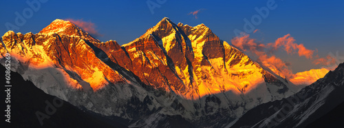 Fotobehang Nepal Everest at sunset. View from Namche Bazaar, Nepal