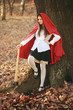 Dangerous Little red riding hood with an axe