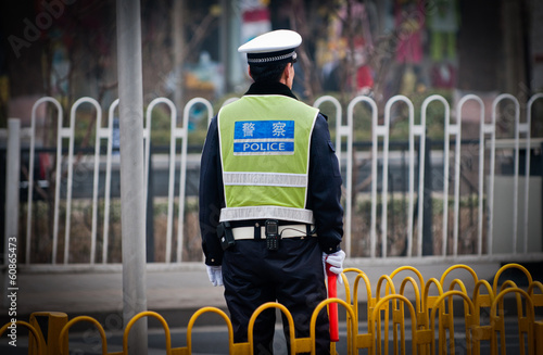 Foto op Canvas Beijing Traffic police officer on the street in Beijing, China
