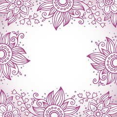 Abstract floral frame in purple colors