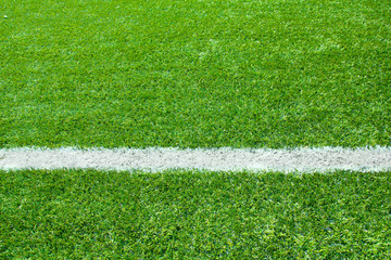 Artificial grass with white stripe