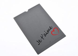 bloc note avec je t'aime
