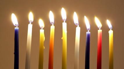 Hanukkah candles burn