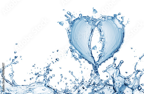 Heart from water splash with bubbles