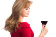 beautiful girl with a glass of red wine