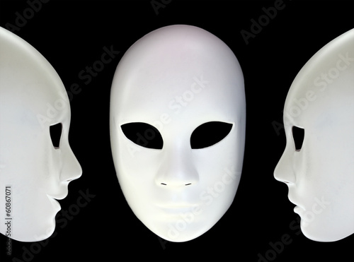 Foto op Canvas Carnaval White masks on black background