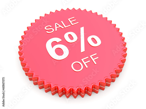 6 Percent OFF Discount Label on white background