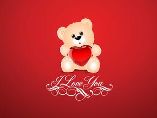 Saint Valentine's background with a teddy bear