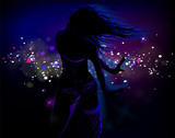 Dancing girl in blue light
