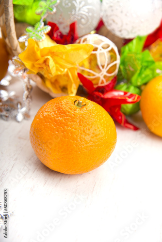 sweet fresh tangerine on the kitchen table