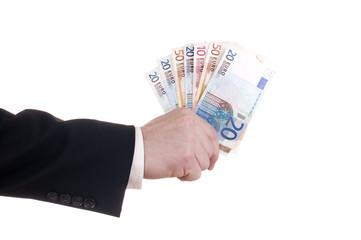 Eine Hand voll Euro Banknoten